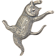 "Signed Edward Gorey ""Happy Cat"" Sterling Silver Brooch/Pin"