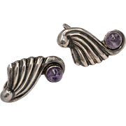 Stamped Mexican Sterling Silver & Amethyst Screw-back Earrings