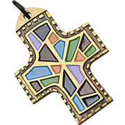 Terra Santa Guild Brass & Enamel Multicolored Cross Pendant with Hymn