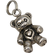 Heavy Solid Sterling Silver Teddy Bear Dangle Charm