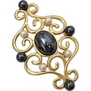 Large Signed Monet Designer Goldtone Scrollwork Black & White Faux Pearl Pin/Brooch