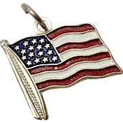 Sterling Silver & Enamel American Flag Dangle Charm