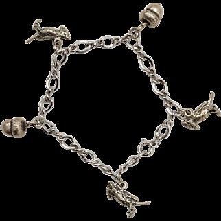 Sterling Silver Acorn & Cardinal Charm Bracelet