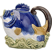 Circa 1991 Nouveau Majolica Blue Fish Glazed Ceramic Tea or Coffee Pot
