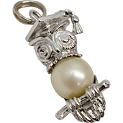 Sterling Silver Scholar or Graduation Owl with Simulated White Pearl Dangle Charm