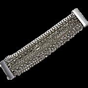 Wide Multi-Chain Link Silvertone Magnetic Clasp Bracelet