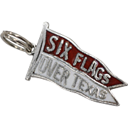 Sterling Silver 'Six Flags Over Texas' Red & White Enamel Pennant Flag Charm
