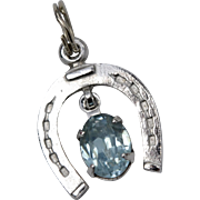 Danecraft Signed Sterling Silver Horseshoe & Blue Rhinestone Charm