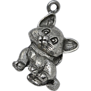 Solid Sterling Silver Kitten w/ Bow Dangle Charm