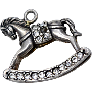 Sterling Silver & Rhinestone Rocking Horse Dangle Charm
