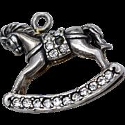 Sterling Silver & Rhinestone Rocking Horse Dangle Charm