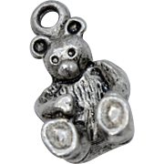 Solid Sterling Silver Teddy Bear Dangle Charm