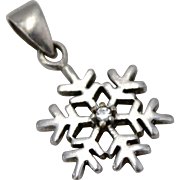 Sterling Silver & Diamond Chip Small Snowflake Pendant