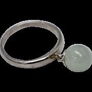 Sterling Silver & Green Jade Ball Dangle Ring