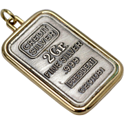 Sterling Silver .999 Fine Silver Bullion Pendant
