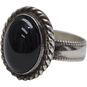 Large Sterling Silver & Black Onyx Cabochon Ring