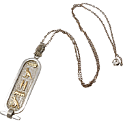 Sterling Silver & 14k Gold Egyptian Cartouche Hieroglyphics Pendant Necklace