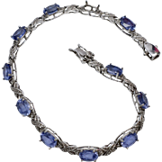 Sterling Silver Tanzanite & Diamond Chip Tennis Bracelet
