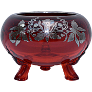Circa 1950s Viking Glass Ruby Red Bowl w/ Silver Daffodil Overlay