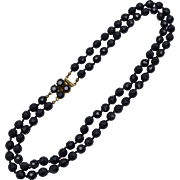Faceted Black Glass Bead Double Strand Necklace w/ Box Clasp