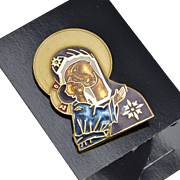 William Spear Signed Large Enamel Russian Madonna w/ Child Religious Brooch/Pin on Original Card