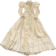 Circa 1893 American Tagged Victorian Era Delicate Cream Silk Satin, Lace & Faux Pearl Wedding Gown