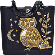 Circa 1970s Enid Collins Style Black Fabric Embellished Owl Structured Handbag w/ Wood Bottom