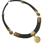 Peruvian Brass Coin & Black Leather Statement Choker Style Necklace