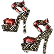 Sterling Silver Judith Jack Pair of Red Enamel & Marcasite High Heel Scatter Pins