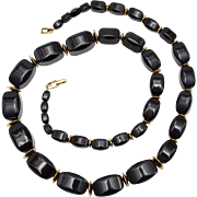 "Napier Signed 30"" Long Chunky Black Bead w/ Gold Spacers Necklace"