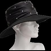 Georgi Designer Black Silk w/ Rhinestones Genuine Wool Ladies Hat