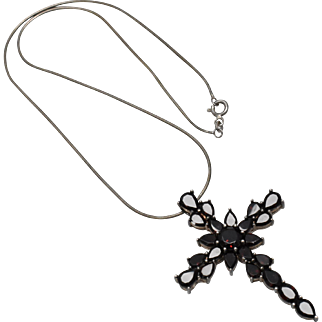 Large Sterling Silver & Pyrope Garnet Cross Statement Pendant Necklace