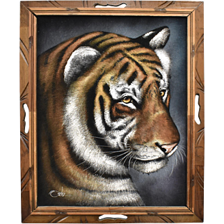 Circa 1970s Signed Ortiz Black Velvet Tiger Painting in Wood Frame - Mexico