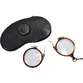 12k Gold Filled Antique Tortoise Shell Rim Round Pince-nez Spectacles w/ Original Case
