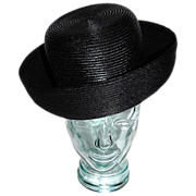 1960s Christine Original ~ Jet Black Straw Hat w/ Wide Brim