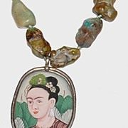 Sterling Frida Kahlo Portrait Pendant w/ Moss Agate Necklace
