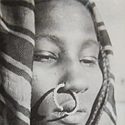 1950s Ethnic Tribal Lady w/ Nose Ring Postcard (RPPC)