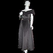 1980s Jordan ~ ILGWU Off-the-Shoulder Black Formal Dress/Gown
