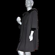 1950/60s Ivey's ~ Milano Grosgrain & Faux Fur Swing Coat