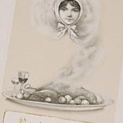 1913 John Winsch ~ Lady in Smoke Thanksgiving Postcard
