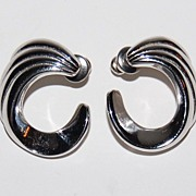 Vintage Monet ~ Silvertone Ribbed Swirl Pierced Earrings