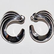 Vintage Monet ~ Silvertone Ribbed Swirl Pierced Earrings