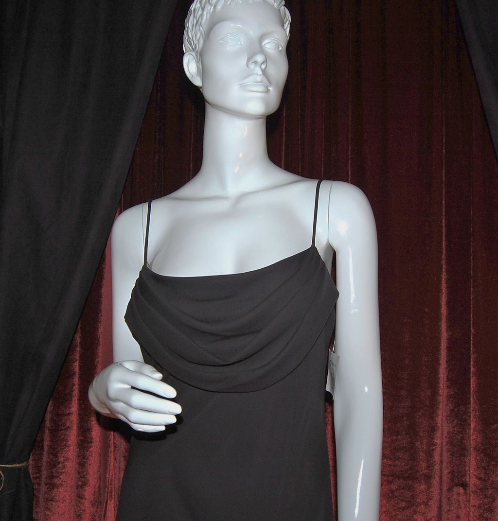 1991 Onyx Nite ~ Long Black Dress w/ Draped Bodice