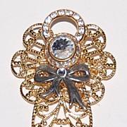 Vintage Rhinestone & Goldtone Angel Pendant/Pin