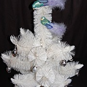 1960s White Bottle Brush Christmas Tree & 20 Glass Ornaments