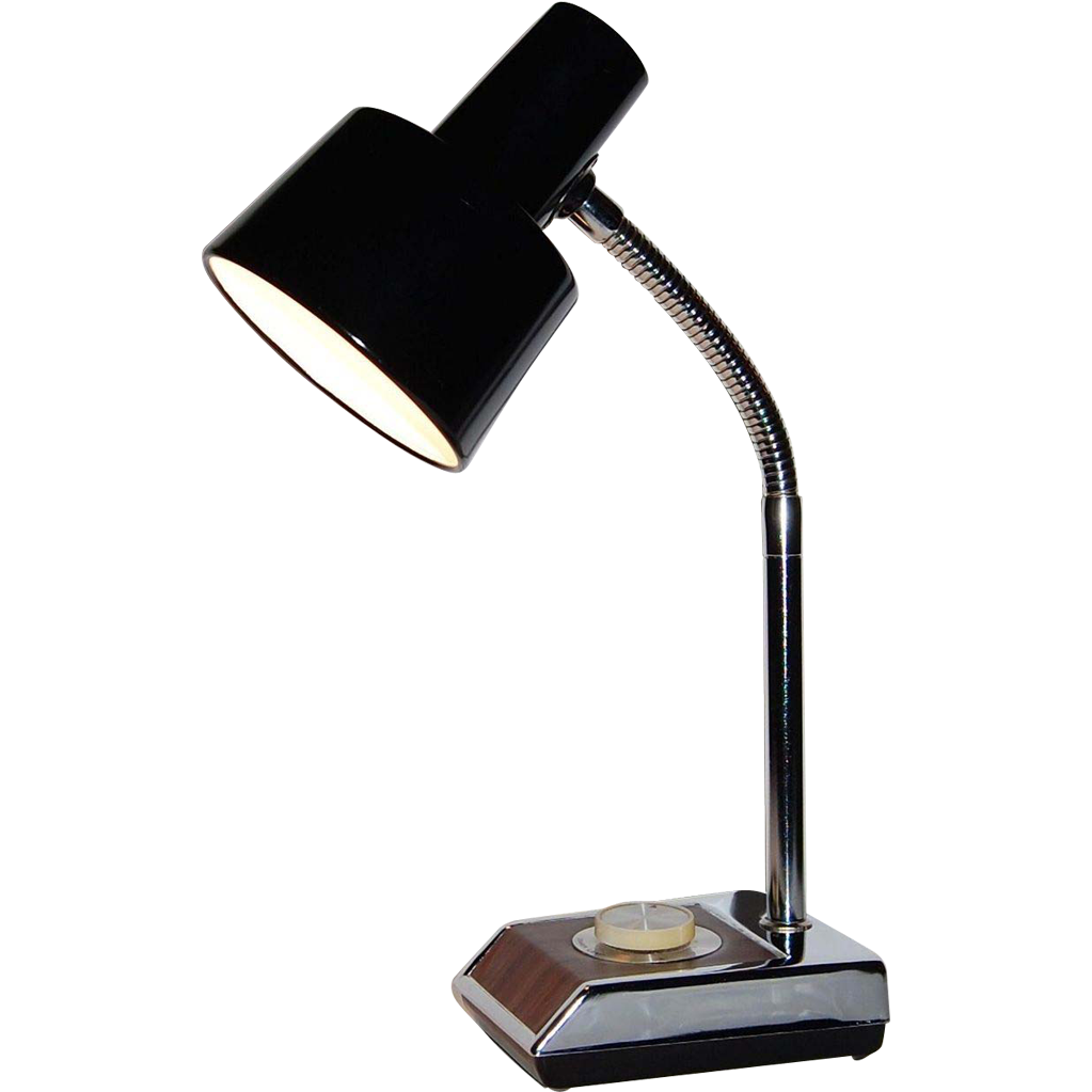 1970s Industrial Chrome amp Faux Wood Gooseneck Lamp From