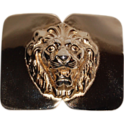 1980s Accessocraft ~ Heavy Goldtone Lion Belt Buckle