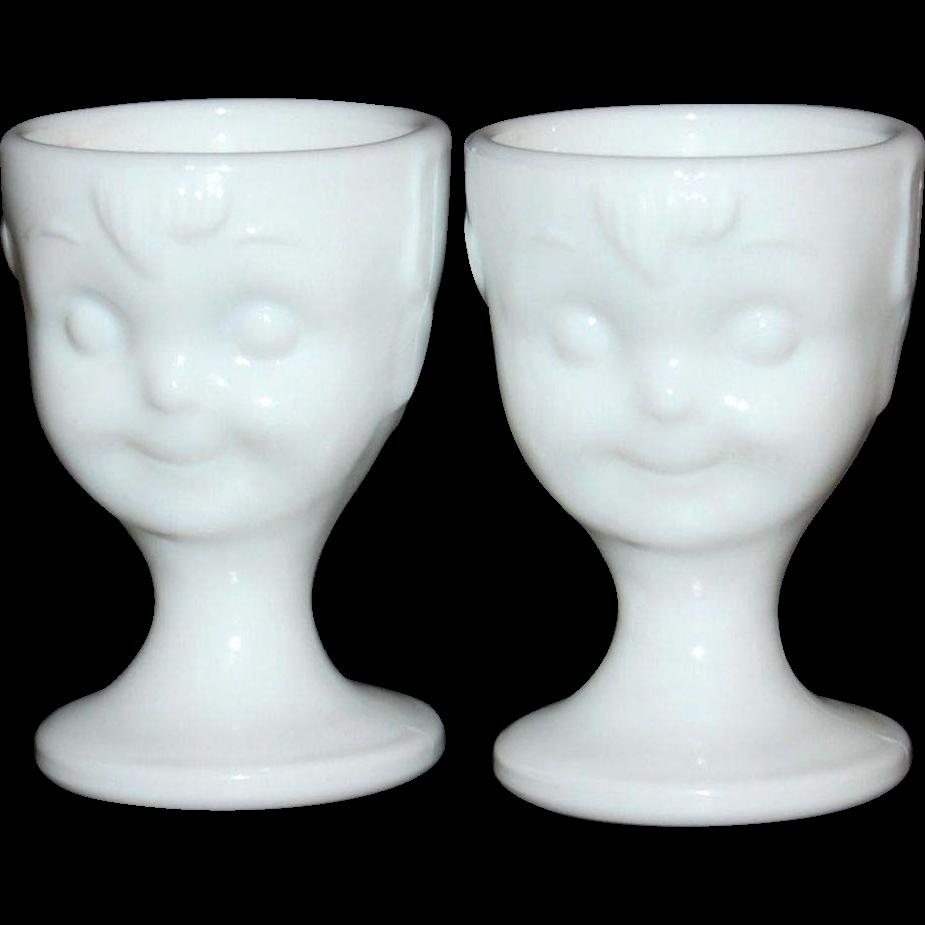 Guernsey ~ Set of 2 Hummel Milk Glass Egg Cups