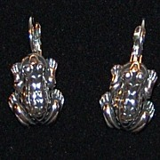 1980s Silvertone Frog Leverback Earrings