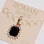 1980s Roman ~ Black Rhinestone Pendant ~ Orig Card